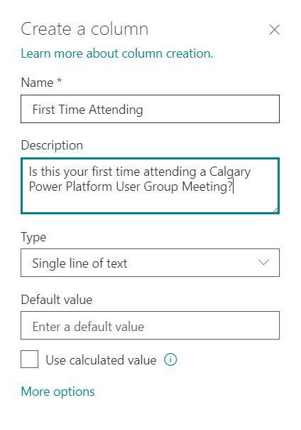 how to fill out the column forms in sharepoint