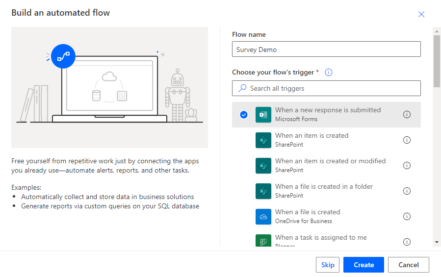 how to create a flow from scratch in power automate