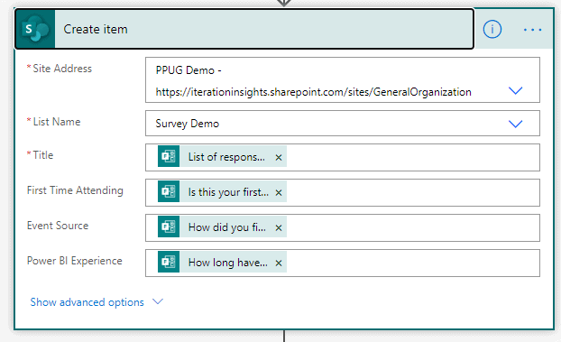 how to fill out the create item in sharepoint action in power automate