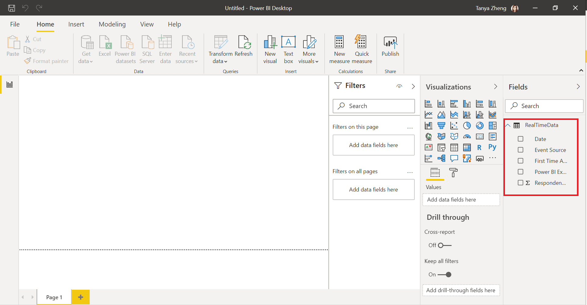 power bi desktop view, highlighting the table menu on the right