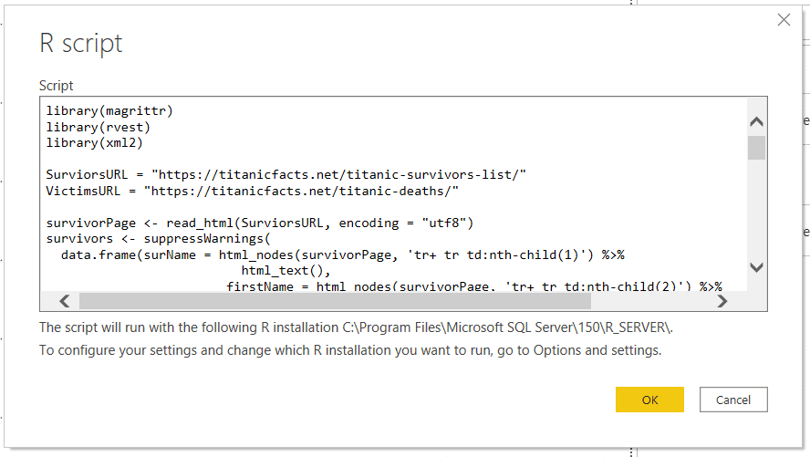 R Scipt window in Power BI