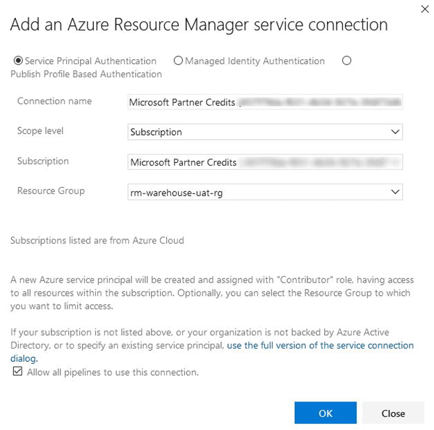 azure resource manager window