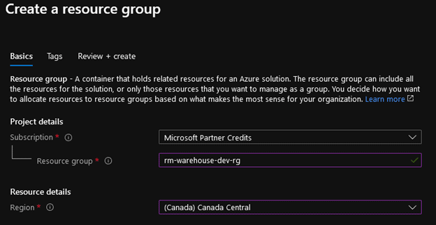 create a resource group
