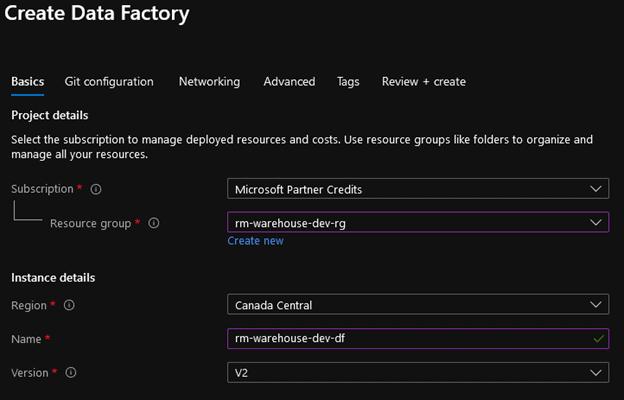 create an azure data factory