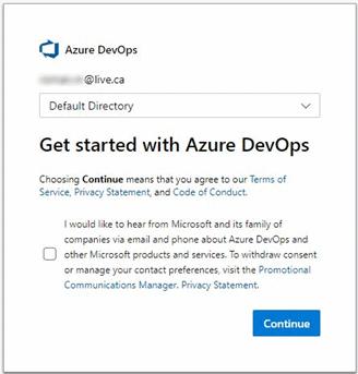 default directory with azure devops