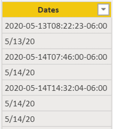 Figure 1 Mixed Formats  A table of Dates that show the inconsistent formats. Row 1 2020-02-13T08:22:23-06:00 Row 1 5/13/20