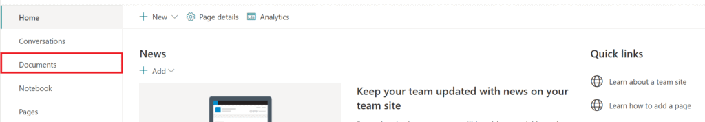 Homepage of a Sharepoint site/group. Navigation menu is on the left hand side with Documents third from the top.