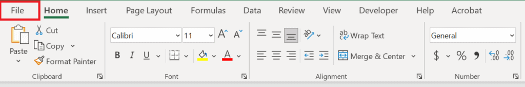 In the top left hand corner of the excel file, select the