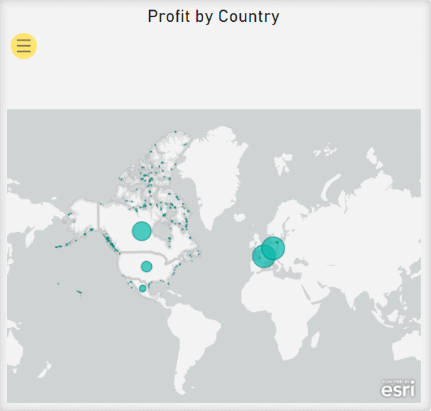 ArcGIS Map showing Profit by Country. The size of each blue circle on the map shows the proportion of Total Sales in that region on the map.