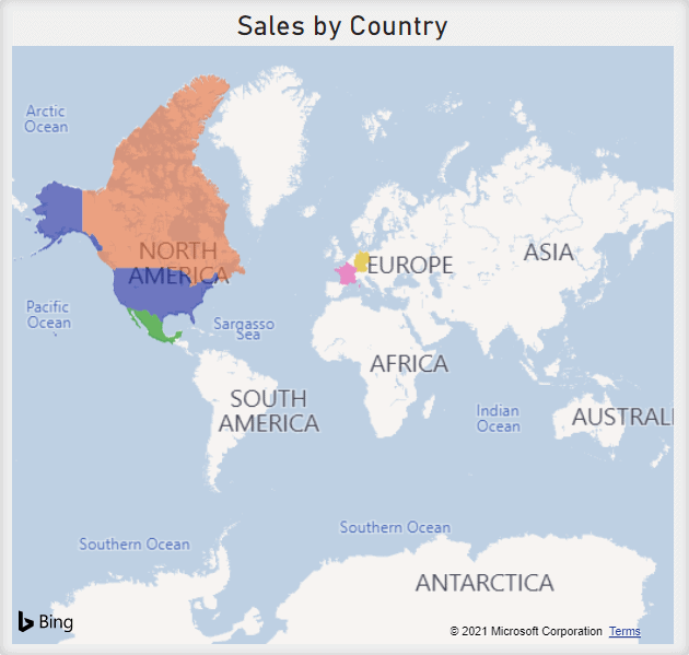 Filled Map using different colours to show the countries a company has made sales in.