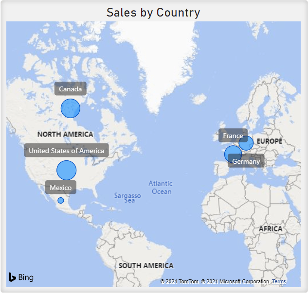 Map showing Sale by Country. Blue circles show where the sales have occurred on a map and the size of the circles represents number of sales.
