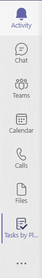 Screenshot of the sidebar in Teams with the Tasks by Planner and To Do app pinned.