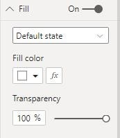 Screenshot from Power BI showing that the default state of the fill of the button is white set to 100% transparency.