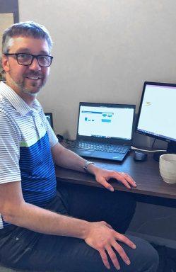 Chris at home teaching set up